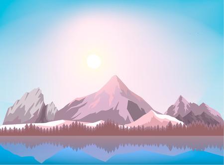 Ilustración de vector de fondo de paisaje de montaña de naturaleza. Hiele la cordillera cerca del bosque y el lago. Organización de turismo, viajes extremos y senderismo, montañismo y aventuras al aire libre.