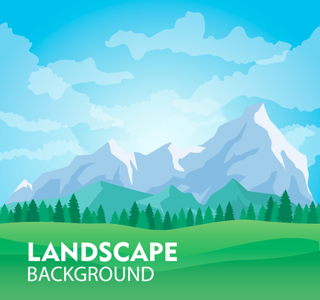 Sunny mountain landscape background vector illustration. Ice mountain range with forest and green field. Nature tourism, extreme travel and hiking, mountaineering and outdoor adventure backdrop