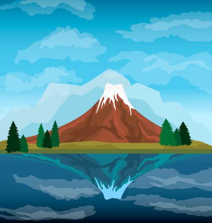 Nature mountain landscape background vector illustration. Blue sky and ancient volcano near lake. Tourism organization, extreme travel and hiking, mountaineering and outdoor adventure backdrop Vettoriali