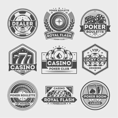 ?asino vintage label set isolated vector illustration. Poker roulette badge, royal flash logo, vip poker club dealer symbol, lucky casino chip emblem. Games of chance or gambling sign collection. Illustration