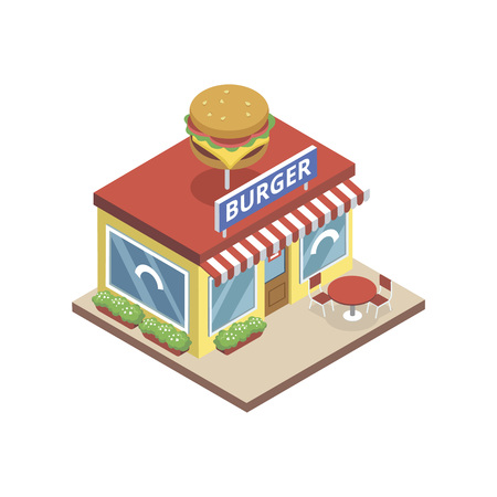 Isometric view of bistro with burger sign building isolated on white. Stock Illustratie