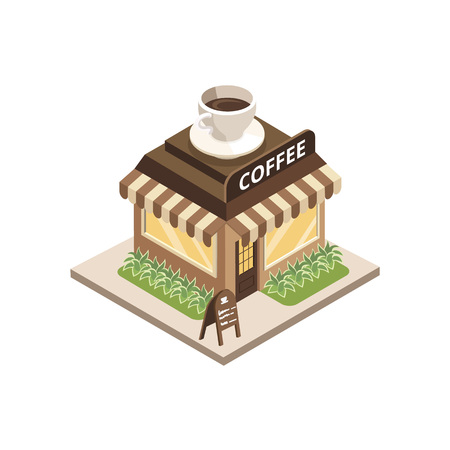 Isometric view of coffee shop building with cup on top on white background.