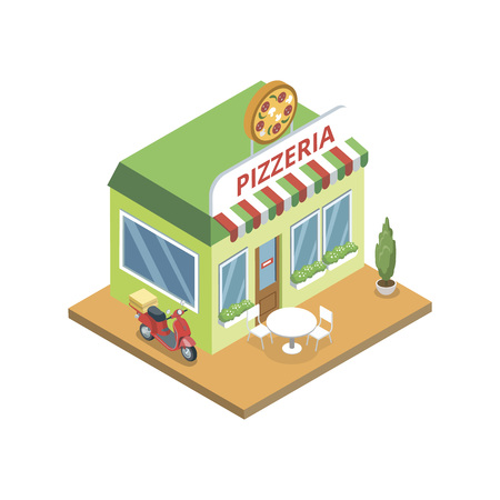 Green pizzeria building with parked scooter in isometric view on white background.