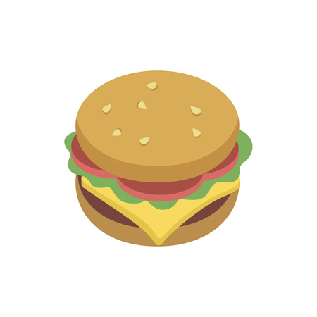 Isometric view of tasty cheeseburger with vegetables on white background.