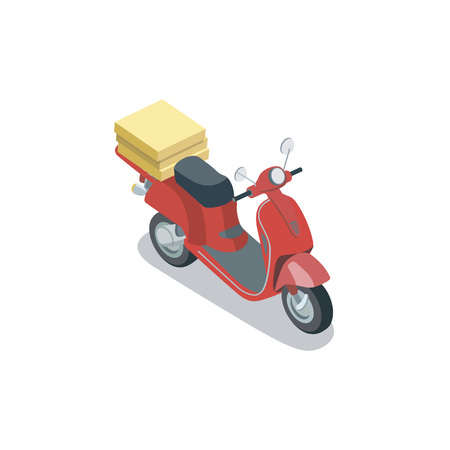 Isometric view of red delivery scooter with pizza boxes on trunk on white background.