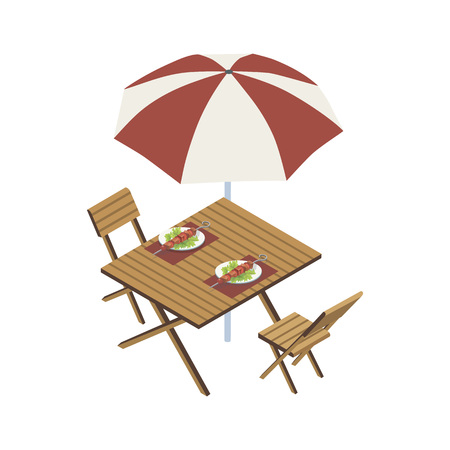 Isometric view of wooden table with umbrella and plates with meat skewers on white background.