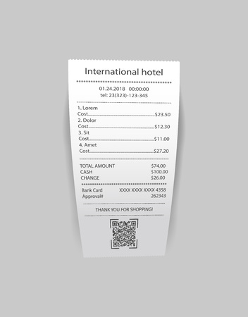 International hotel check with list of costs and services isolated on gray. Illustration