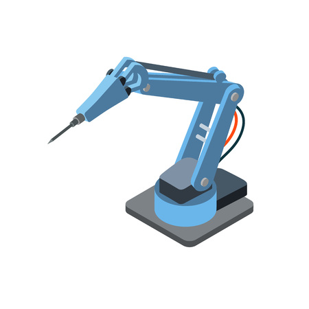 Isometric robotic arm for machinery manufacturing isolated on white.  Illustration