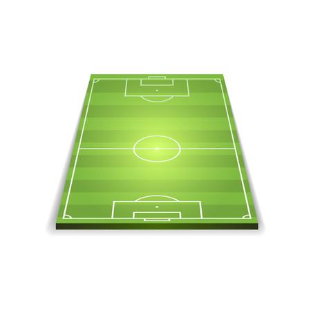 Vector bright illuminated soccer field on white backdrop.