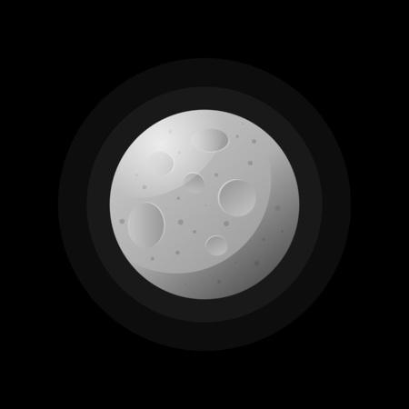 Moon textured round planet on black 일러스트