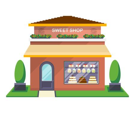 Sweet shop facade isolated icon