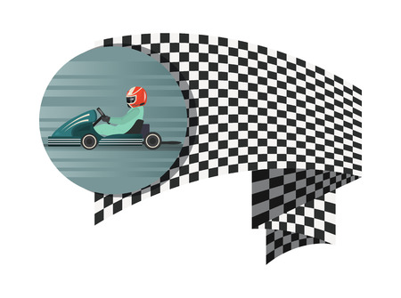 Kart competition symbol with checkered flag