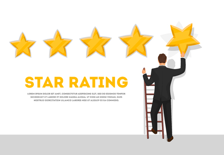 Businessman giving five star rating poster