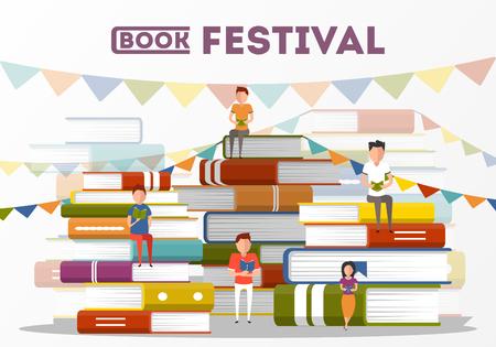 affiche de fête du livre avec de petits personnages de personnes