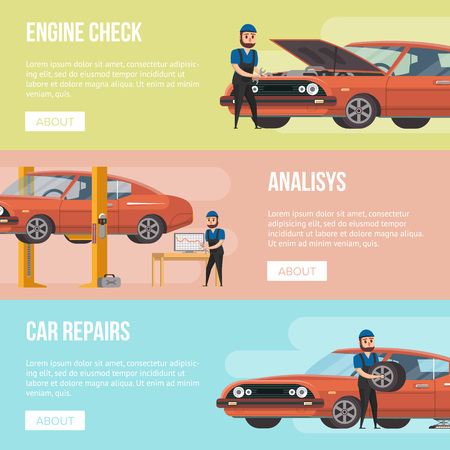 Car service banners with engine check, analysis and repairs elements. Vettoriali
