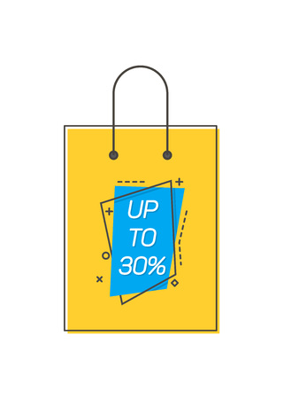 Yellow colored shopping bag with Up to 30% isolated on a white background.