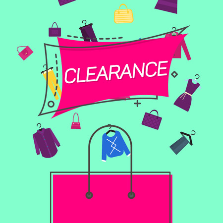 Clearance emblem and shopping bag.