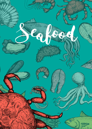 Seafood vintage hand drawn banner Stock Photo