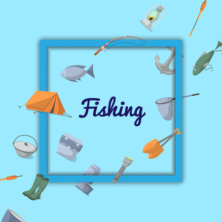 Fishing poster with fisher equipment icons