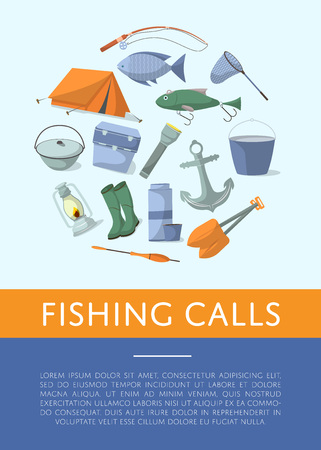 Fishing shop advertising poster in flat style