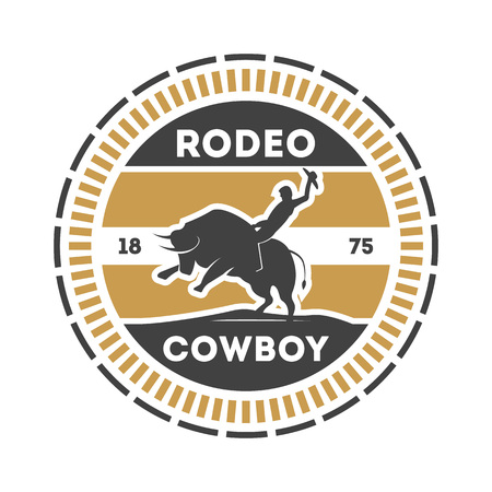 American rodeo vintage label with cowboy on bull Stock Photo
