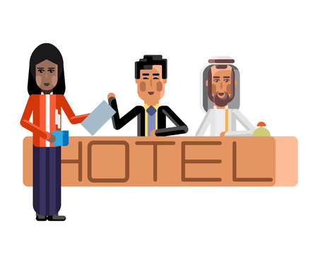 Arabic and asian receptionists at hotel reception