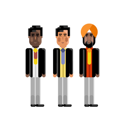 Indian, Asian and African staff in business suits.