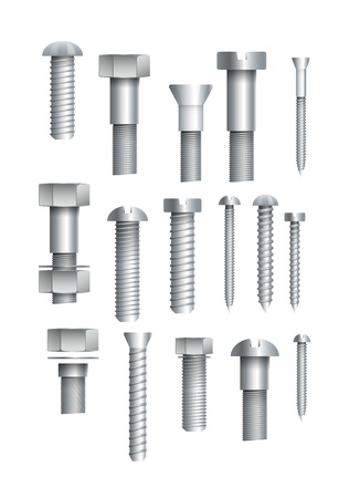 Metallic bolts and screws isolated set Ilustrace