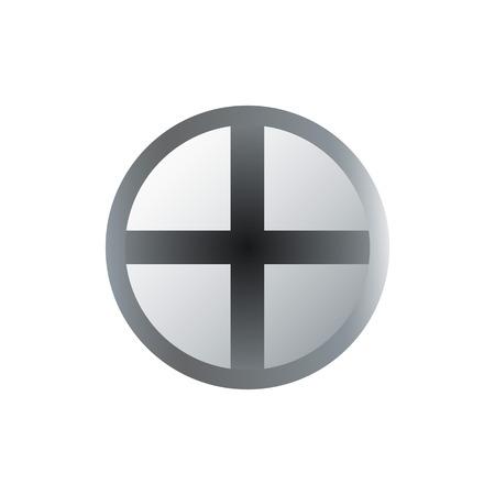 Metallic cross head isolated on white background. Illustration