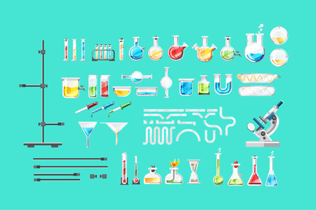 Chemical laboratory equipment isolated set Illustration