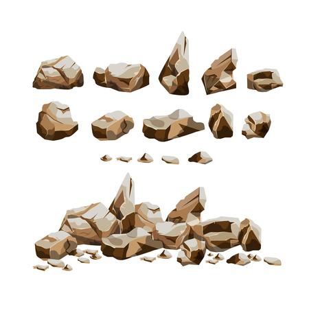 Granite rocks set in cartoon style Illustration
