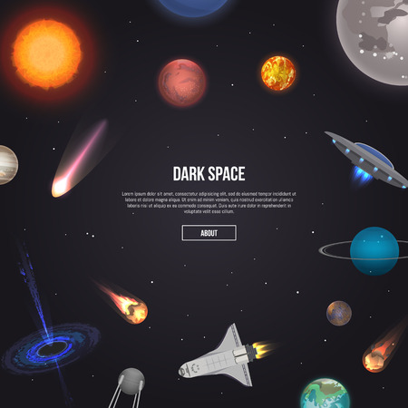 Dark space banner with cosmic elements