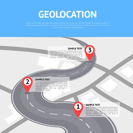 Geolocation concept with pin pointers