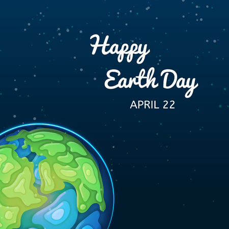 Happy Earth Day greeting card. World ecology holiday, environment conservation, nature and eco friendly design vector illustration. Earth planet with green continents and blue oceans in deep space.