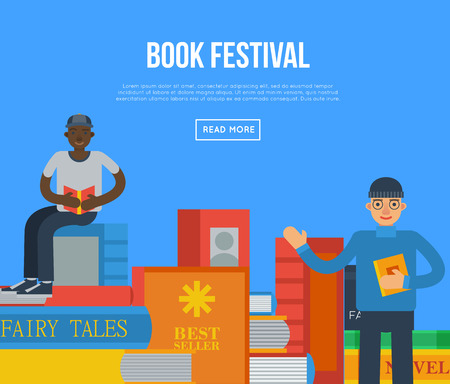 Book festival poster with people reading books. Literature event announcement, bookstore advertising template, book fair creative banner, knowledge and education vector illustration in flat style.