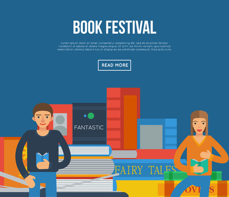 Book festival poster with big books and people reading. Literature event announcement, bookstore advertising template, book fair banner, knowledge and education vector illustration in flat style.