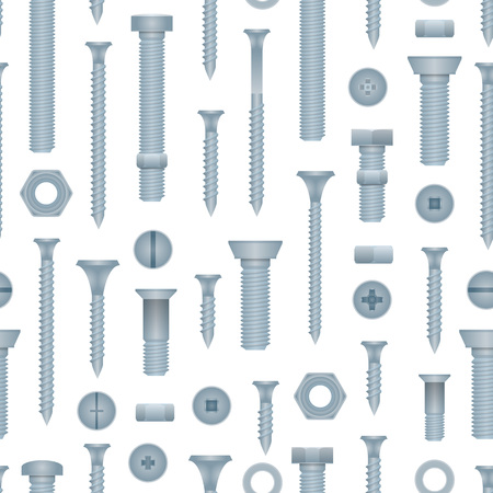 Seamless pattern with steel bolts with nuts and screws. Construction hardware elements, house building and repairs metallic accessories. Realistic mechanic fitting work tools vector illustration. Stock Illustratie