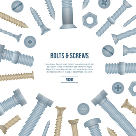 Construction shop advertising banner with realistic steel bolts and screws. Hardware store poster, building and repairs accessories. mechanic fitting work tools on white background vector illustration
