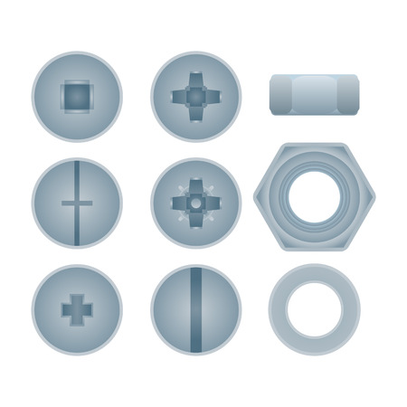 Top view steel bolts with nuts and screws isolated set. Construction hardware elements, house building and repairs metallic accessories. Realistic mechanic fitting work tools vector illustration.