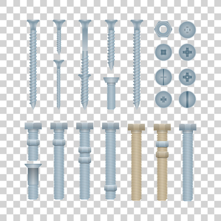 Steel bolts with nuts and screws isolated collection. Construction hardware elements, house building and repairs metallic accessories. Realistic mechanic fitting work tools vector illustration.