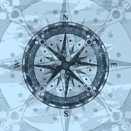 Grunge blue background with compass rose. Geography research, worldwide traveling and exploration. Nautical navigation, topography and cartography vintage concept, world discovery vector illustration.