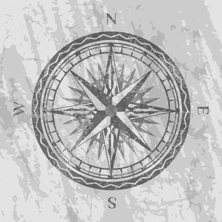Compass rose on grunge grey background. Geography research, worldwide traveling and exploration. Nautical navigation, topography and cartography concept, world discovery vector illustration.
