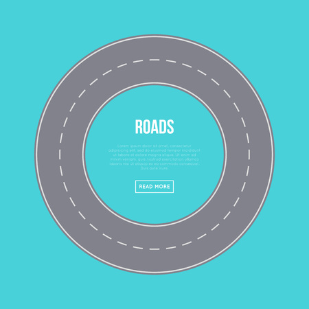 City traffic concept with road ring and space for text. Urban transportation infrastructure, empty roads construction, top view of asphalt speedway with road marking vector illustration.