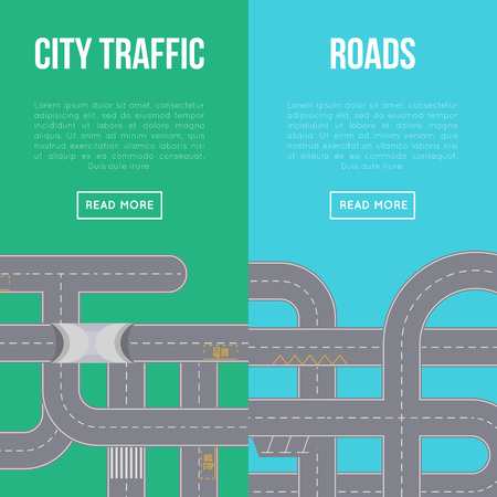 City traffic vertical flyers with highway roads and space for text. Urban transportation infrastructure, crossing roads construction, top view of asphalt speedway with road marking vector illustration Illustration