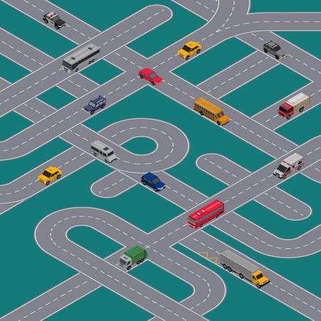 Stadsverkeer banner met vervoer op de snelweg. Stedelijke vervoersinfrastructuur, verkeersknooppuntconcept. Kruising wegenbouw, isometrische weergave van speedway met auto's vector illustratie.