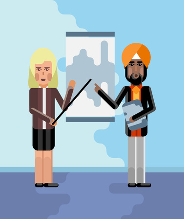 Indian and european speakers doing business presentation near whiteboard with diagram in conference room. Corporate multicultural business people vector illustration. Illustration