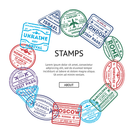 Visa rubber stamps round composition