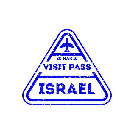 Israel city stamp on passport. International  sign, airport travel symbol vector illustration.