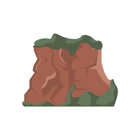 Hill top isolated vector illustration. Outdoor adventure, travel, tourism, camping and hiking design element.