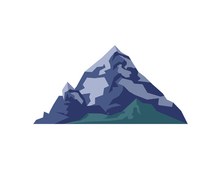 Alpine mountain isolated vector illustration. Outdoor adventure, travel, tourism, camping and hiking design element.